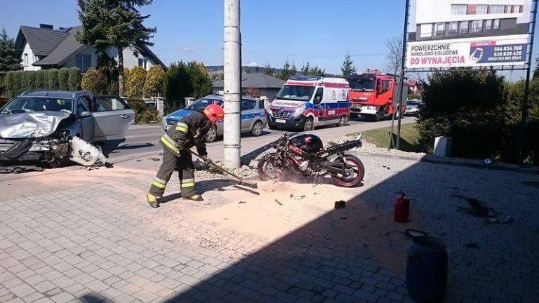 Nowy Sącz: wypadek. Motocyklista w szpitalu