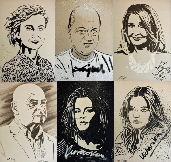 Nowy Sącz:  MGR MORS namalował portrety sądeckich gwiazd dla Tomasza Brzeskiego
