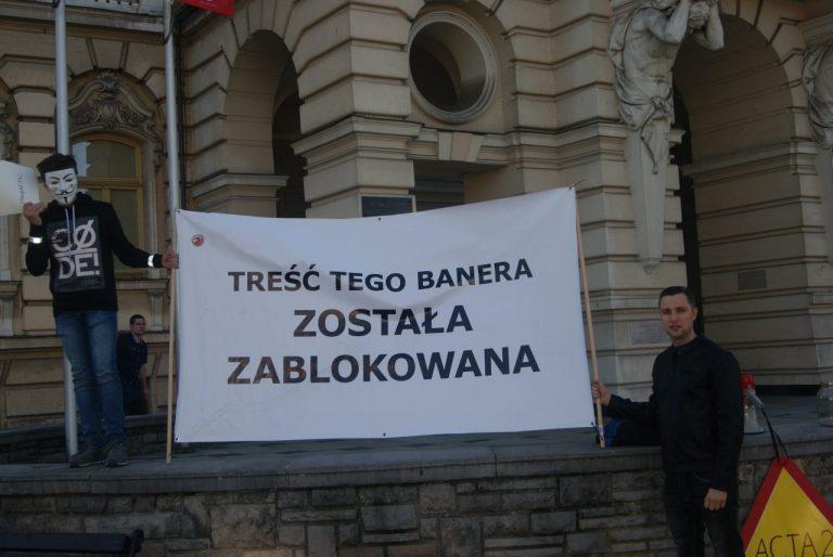 STOP ACTA 2 – protest na sądeckim rynku przeciwko unijnej dyrektywie