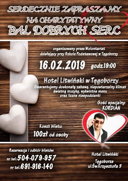 Hotel Litwiński w Tęgoborzy 16 lutego 2019: Bal dobrych serc