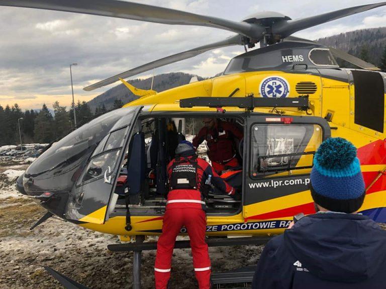Wypadek na stoku narciarskim. Lotnicze Pogotowie Ratunkowe zabrało 11-latka do szpitala