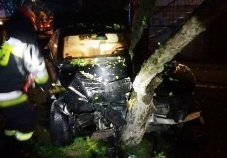 O krok od tragedii. Samochód wpadł na podwórko i wbił się w drzewo