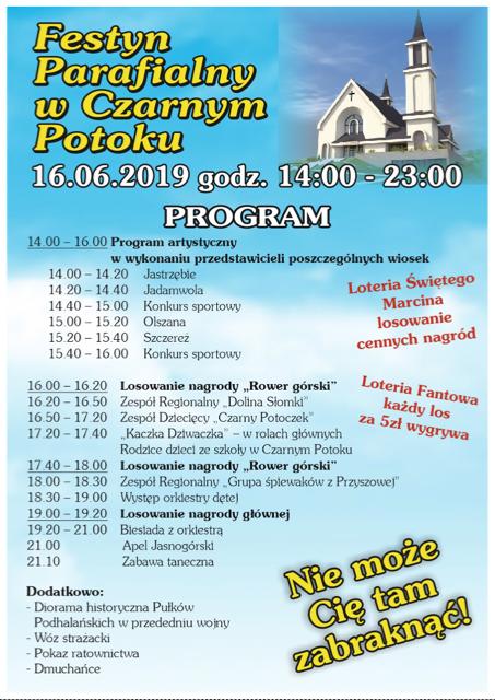Czarny Potok, 16 czerwca: Festyn Parfialny z loterią św. Marcina