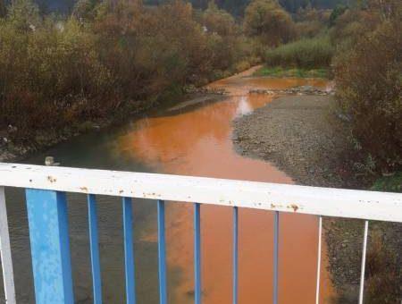 Z nurtem rzeki płynęła pomarańczowa ciecz. Właściciel zakładu twierdzi, że to legalne