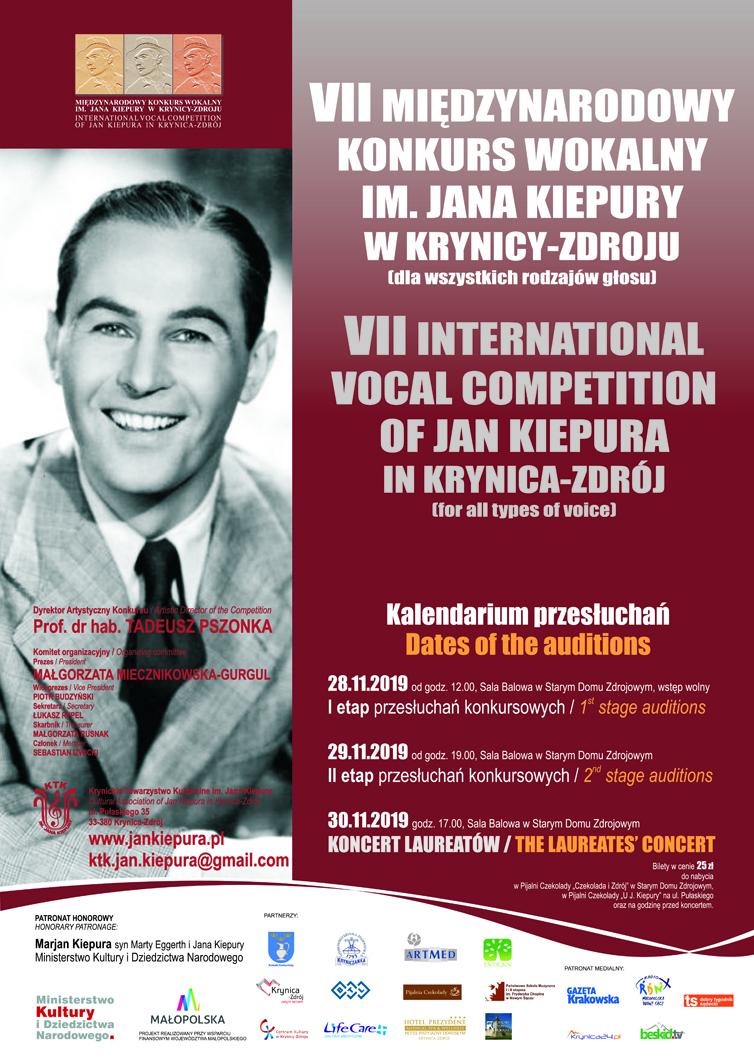 29-30 listopada, Krynica – Zdrój: VII Międzynarodowy Konkurs Wokalny im. Jana Kiepury