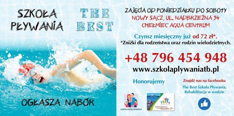 Szkoła pływania The Best prowadzi zajęcia na basenie w Nowym Sączu oraz w Chełmcu