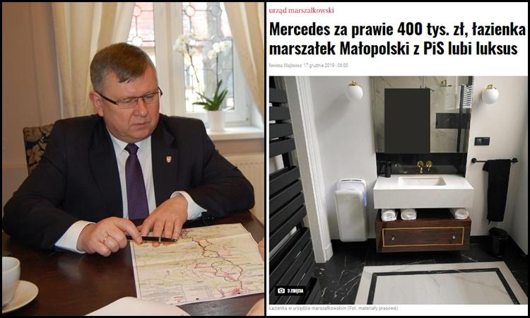 """,,Luksusowe wydatki"""" marszałka Kozłowskiego? UMWM tłumaczy się z zakupu Mercedesa i remontu"""