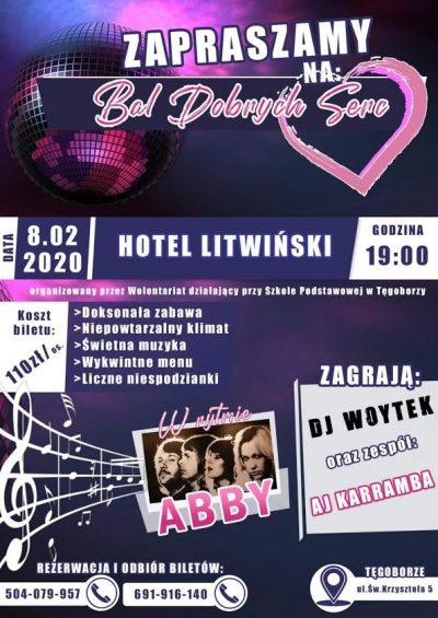 plakat; Bal Dobrych Serc w hotelu Litwiński, 8 lutego, godzina 19.