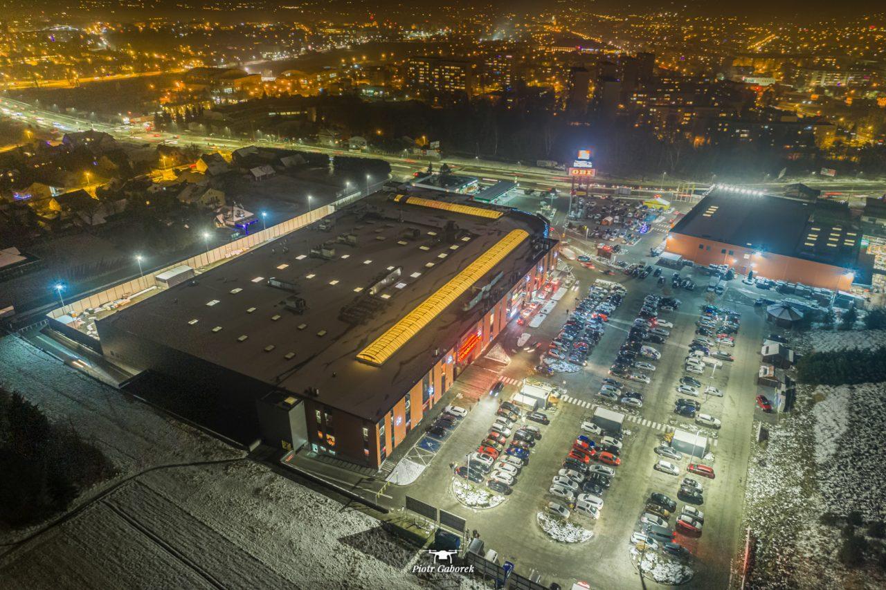 Nowy Sącz, widok z drona. CH Gołąbkowice