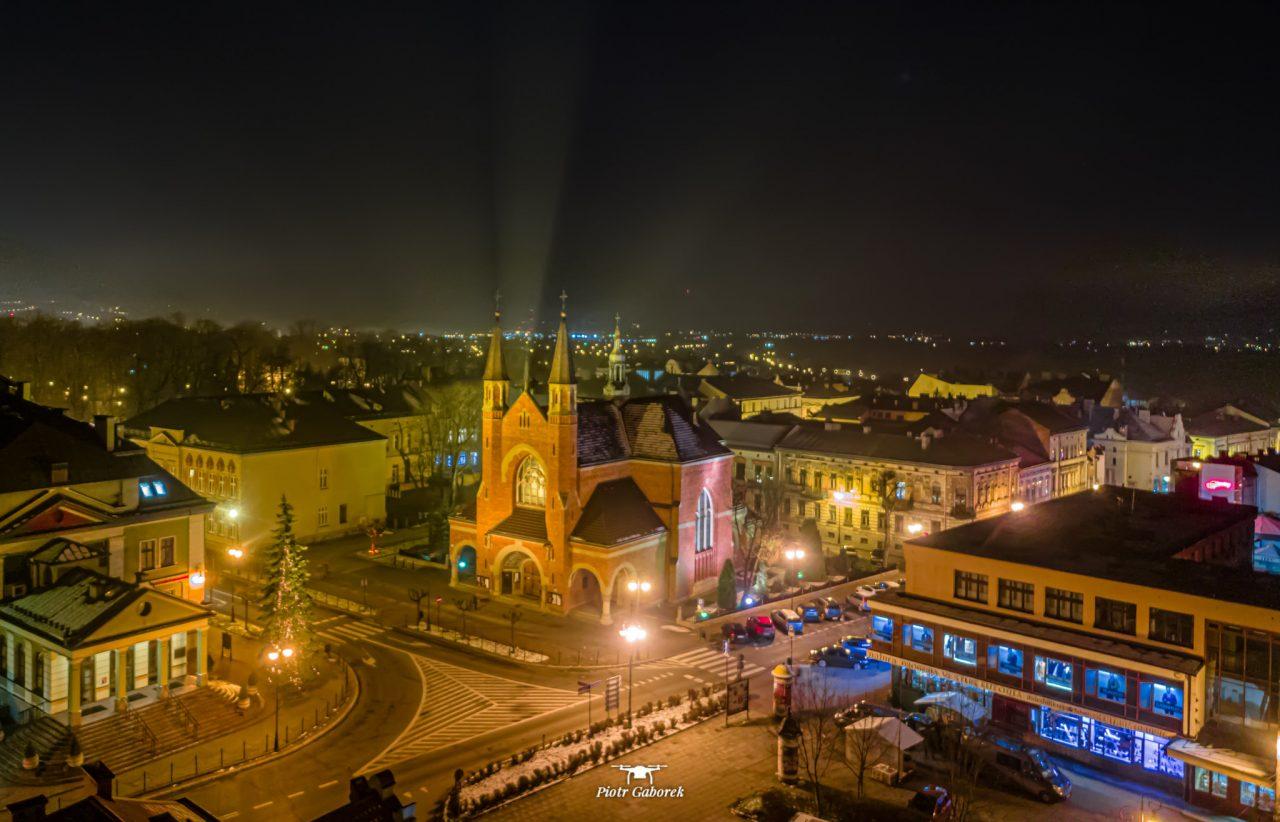 Nowy Sącz, widok z drona. Kościół św. Kazimierza