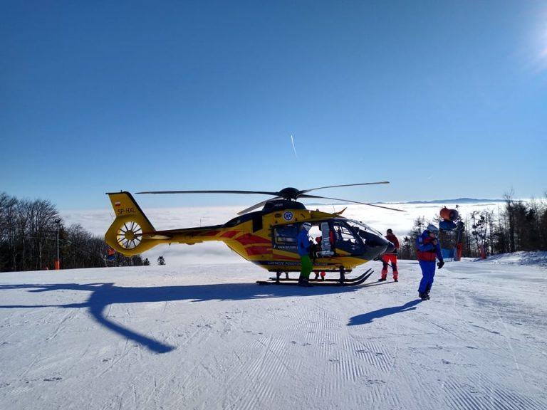Dwa wypadki na stokach narciarskich. Dwukrotnie lądował śmigłowiec LPR