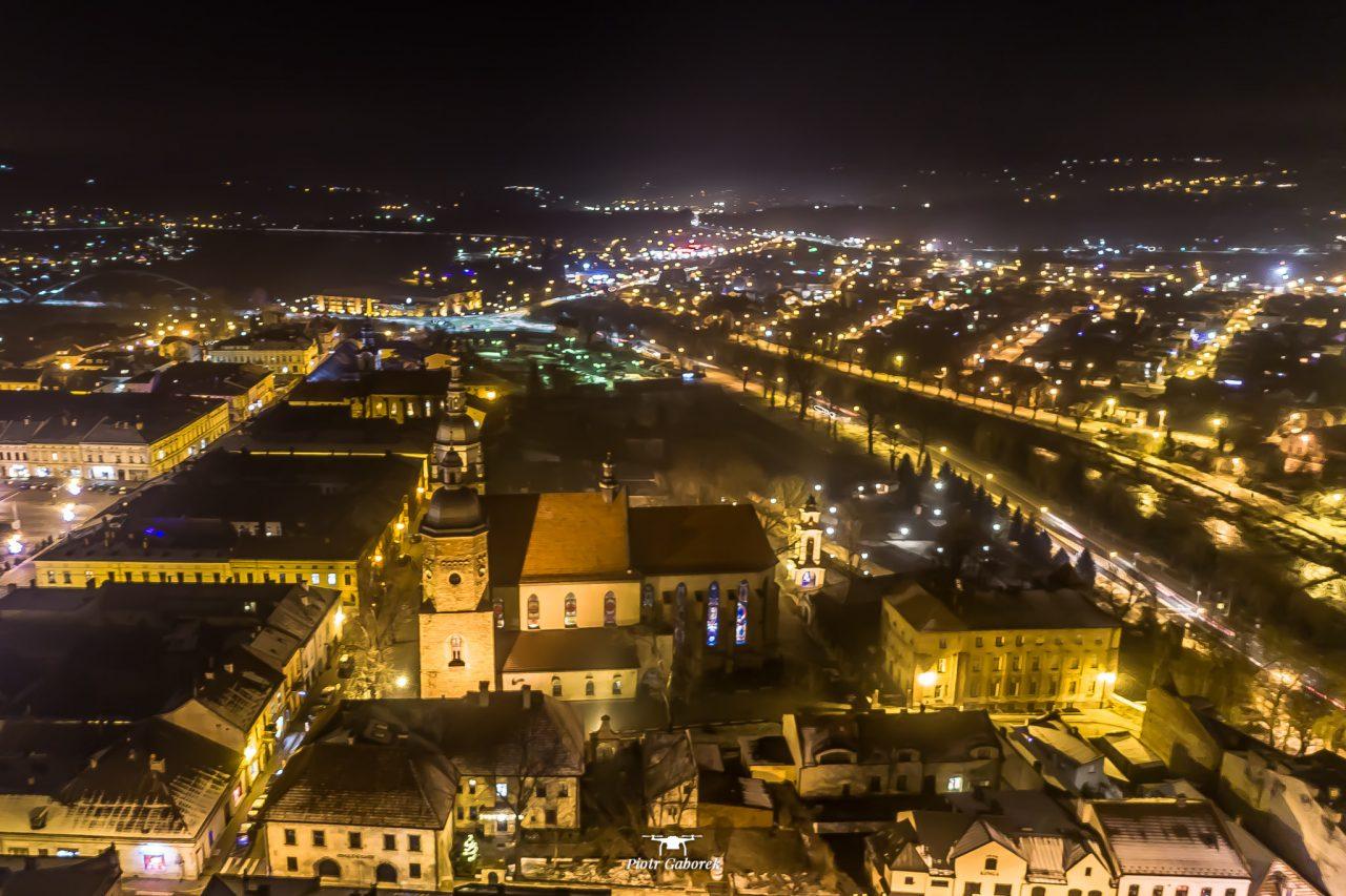 Nowy Sącz, widok z drona. Bazylika św. Małgorzaty
