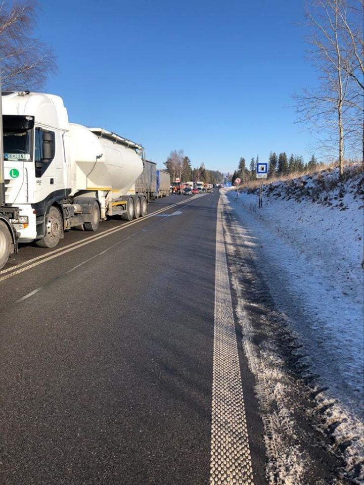 Blokada drogi po słowackiej stronie