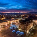 Nowy Sącz, widok z drona. Rynek, ratusz