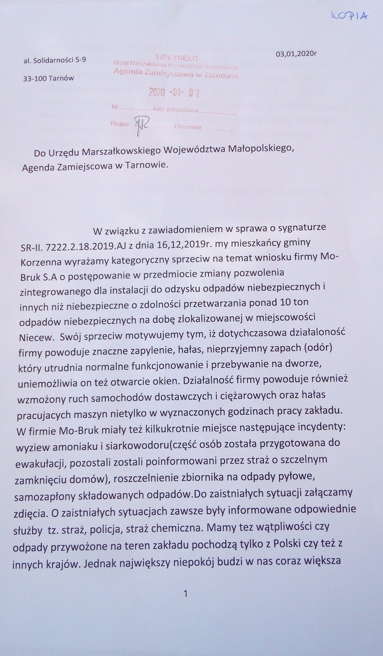 treść pisma mieszkańców Korzennej do marszałka
