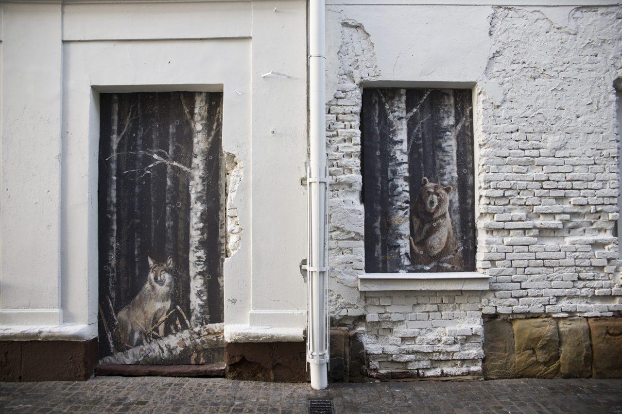Murale na ulicy Wąskiej; niedźwiedź i wilk