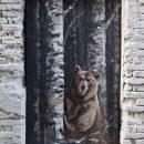 galeria na Wąskiej w Nowym Sączu, mural z niedźwiedziem