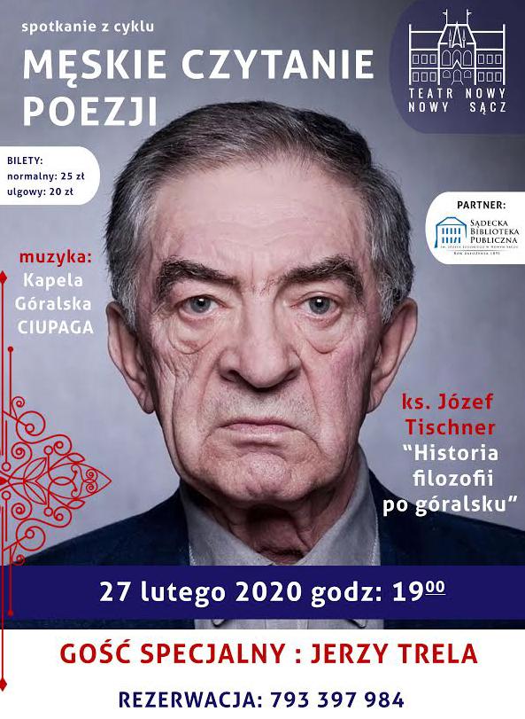 """27 lutego, Nowy Sącz: Męskie czytanie poezji z Jerzym Trelą i """"Historią filozofii po góralsku"""""""