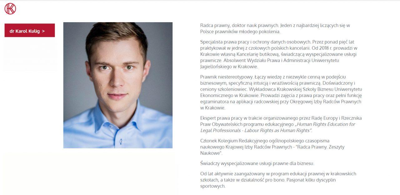Karol Kulig, specjalista w zakresie prawa pracy