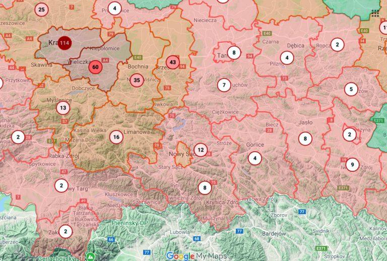 Mapa zachorowań z danymi z powiatów