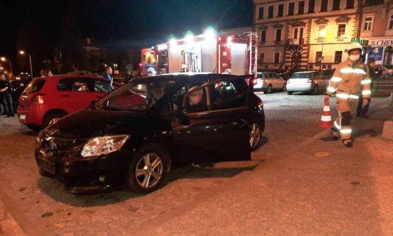Zderzenie dwóch samochodów w Grybowie