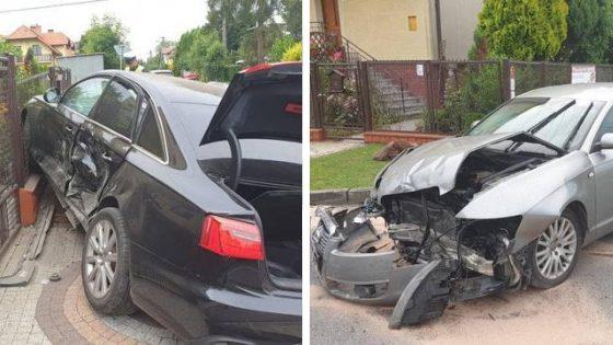 Nowy Sącz: zderzenie dwóch Audi A6, jedna osoba trafiła do szpitala