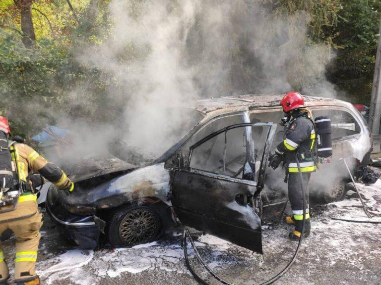 Marcinkowice: spłonął osobowy Chrysler