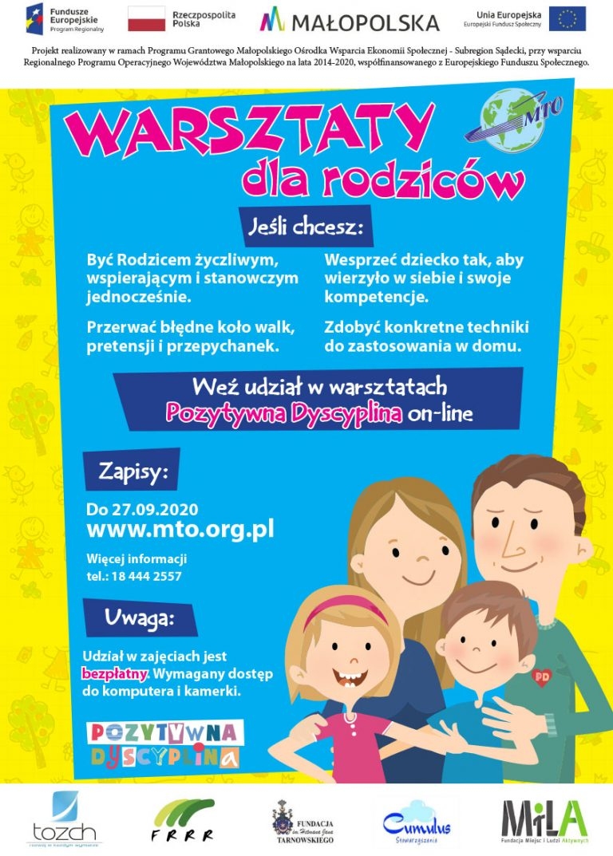 Małopolskie Towarzystwo Oświatowe zaprasza na bezpłatne zajęcia dla rodziców w duchu POZYTYWNEJ DYSCYPLINY.