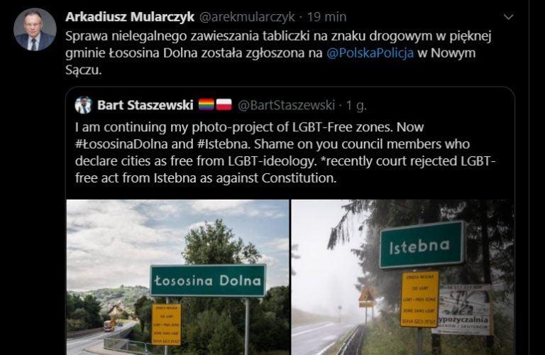 """Aktywista oznakował Łososinę Dolną jako """"strefę wolną od LGBT"""". Mularczyk: sprawa została zgłoszona na policję"""
