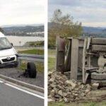 Na DK 75 – stłuczka Peugeota i Audi. W Rdziostowie wywrotka ciężarówki. Kierowca ranny…