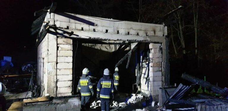Grybów: płonął garaż z warsztatem samochodowym. W środku był też pies