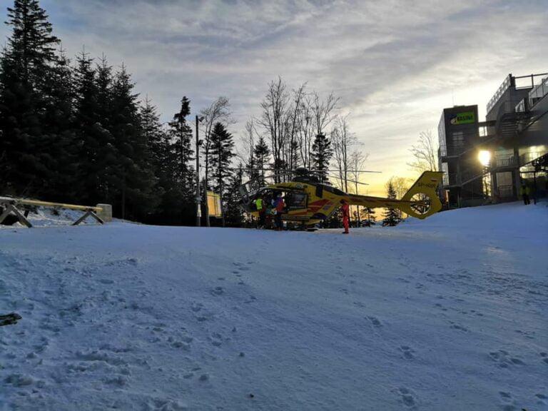 Kasina Wielka. Na stoku narciarskim lądował śmigłowiec LPR