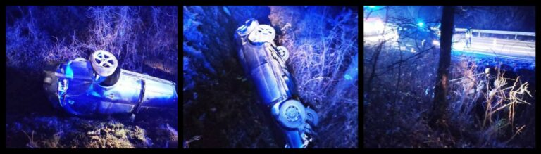"""Samochód, który dachował w Kadczy, ,,zniknął"""" z posesji w powiecie nowotarskim. Policja szuka kierowcy"""