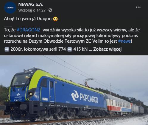 Lokomotywa Dragon 2 nową rekordzistką w Czechach