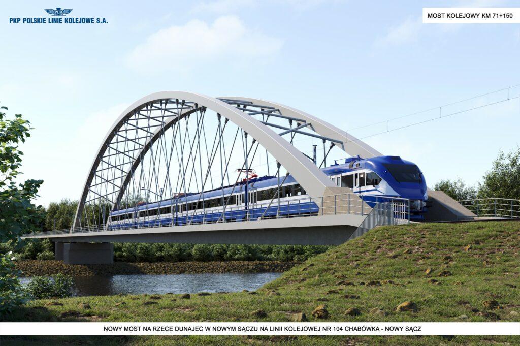 Tak będzie wyglądał most kolejowy w Nowym Sączu… Jeszcze w tym roku przetargi na budowę linii Podłęże – Piekiełko