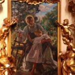 Mały Jezus i św. Józef. Obraz Bolesława Barbackiego