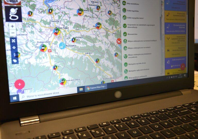 Ponad 9 tysięcy zagrożeń na mapie Sądecczyzny. Zgłoszenia pochodzą od mieszkańców. Policja weryfikuje