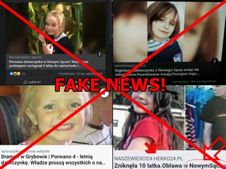 Nowy Sącz. Grybów. Piwniczna-Zdrój. Fake newsy o porwaniu dzieci z Sądecczyzny zalewają internet