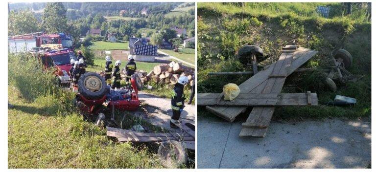 Krużlowa Niżna. Trzy osoby ranne w wypadku ciągnika rolniczego