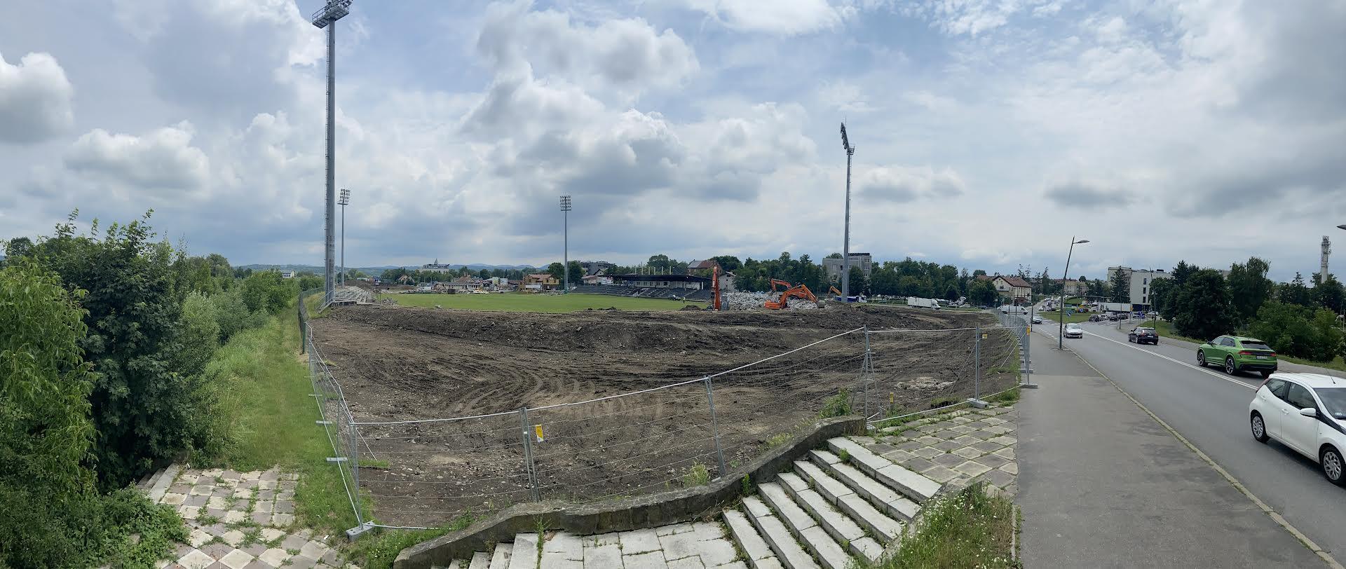 Plac budowy nowego stadionu Sandecji