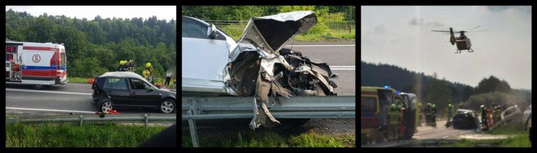 Dramatyczny wypadek w Paszynie. Droga do Nowego Sącza zablokowana. Interweniuje LPR
