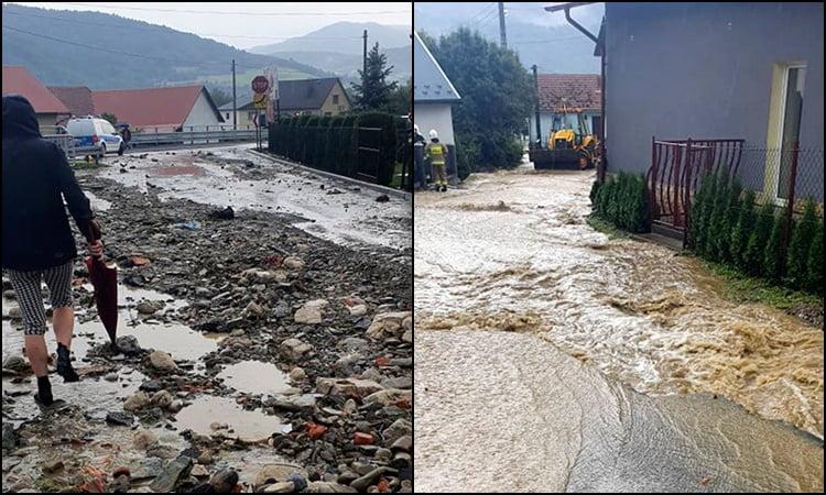 Łącko po oberwaniu chmury: zalane i zniszczone drogi, podtopione domy i uaktywnienie osuwiska