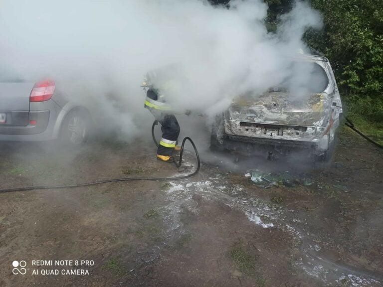 Piwniczna-Zdrój. Samochód stanął w ogniu na leśnym parkingu