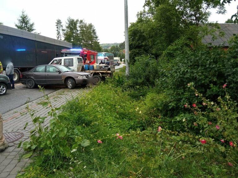 Dwa niebezpieczne zdarzenia. Droga w Librantowej zablokowana