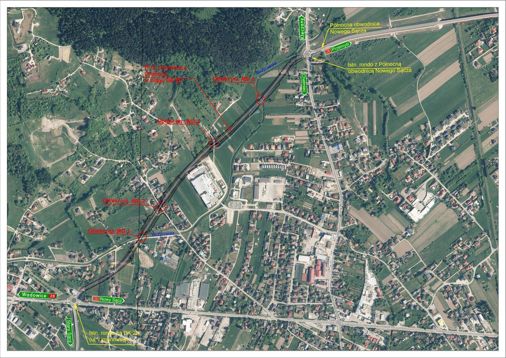 Przebieg obwodnicy Chełmca na mapie