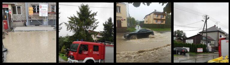 Korzenna. Strażacy walczyli z wodą płynącą przez centrum miejscowości