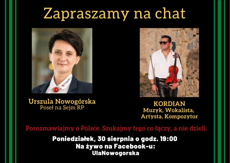"""Poseł Urszula Nowogórska zaprasza na kolejny chat z cyklu """"Porozmawiajmy o Polsce""""."""