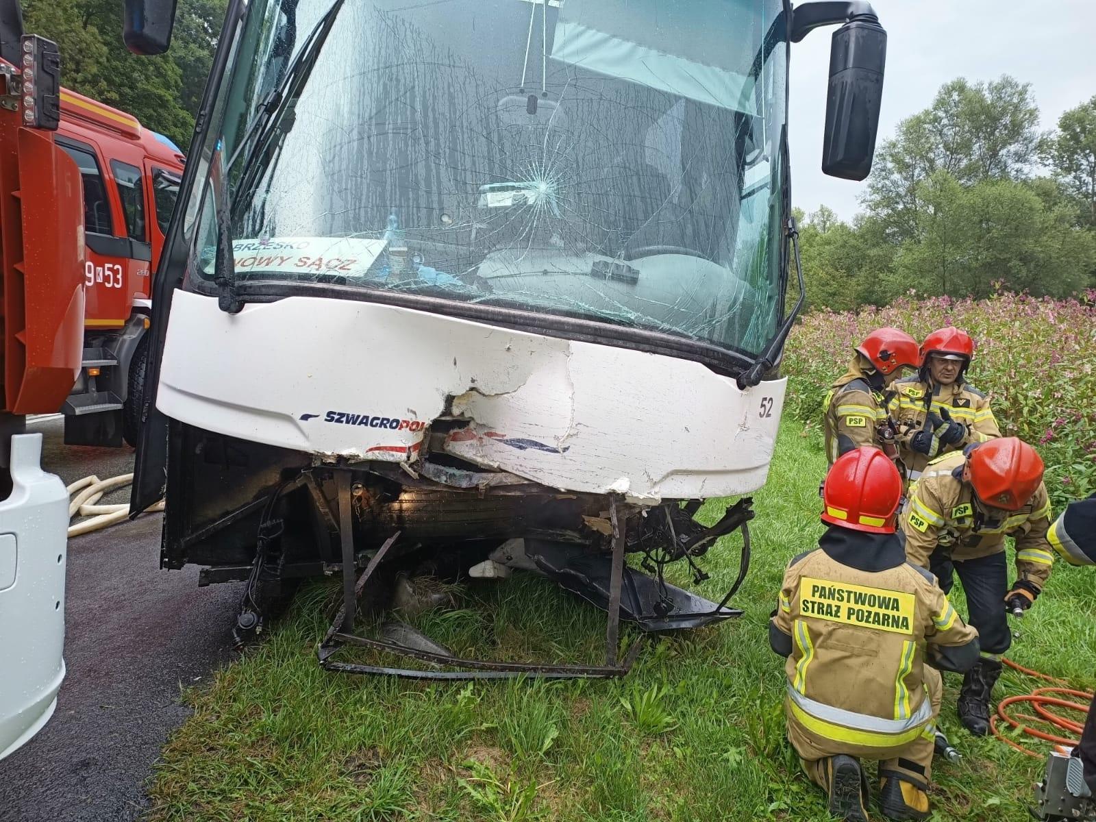 Wypadek autobusu i Toyoty w Witowicach Górnych. Nie żyje 48-latek i 51-latek, LPR