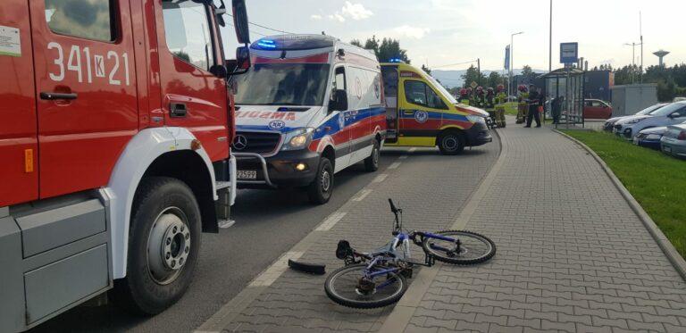 Nowy Sącz. Zderzenie czterech pojazdów i rowerzysty na ul. Węgierskiej