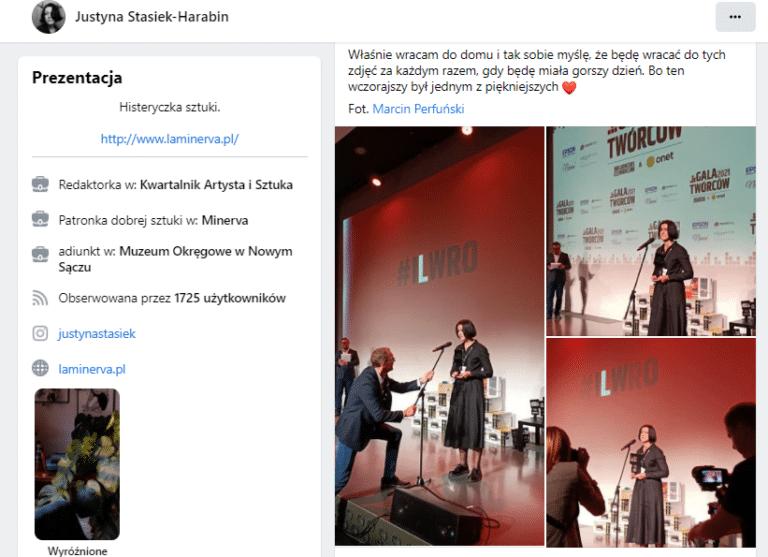 Justyna Stasiek-Harabin z nagrodą Gali Twórców 2021